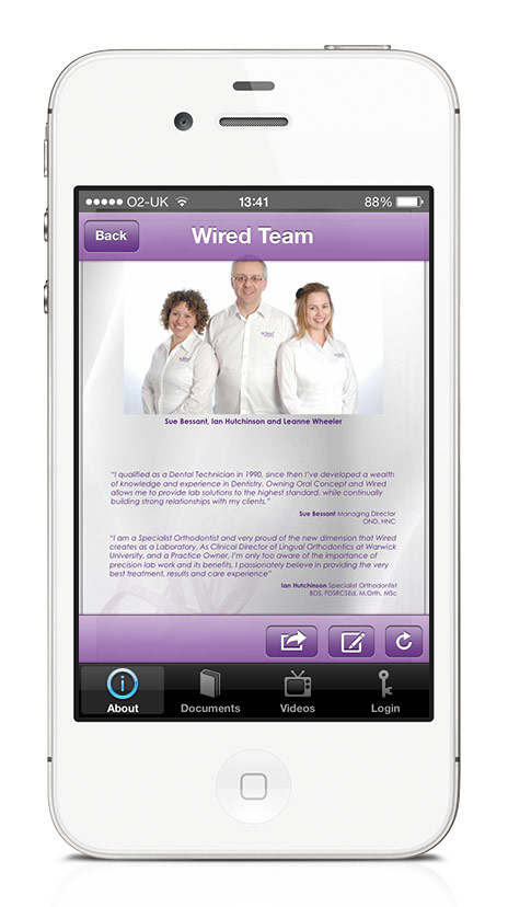 Wired Orthodontics Reference Mobile App Team Screen
