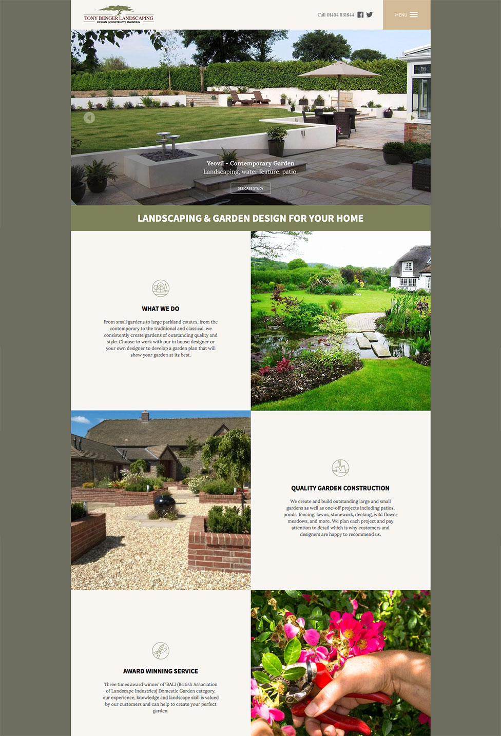 Tony Benger Landscaping Domestic Website Home Page